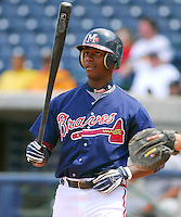 Outfielder Brandon Jones of the Mississippi Braves, the Atlanta Braves' Class AA affiliate of the Southern League, in a game April 22, 2007, against the Birmingham Barons at Trustmark Park in Pearl, Miss. Photo by:  Tom Priddy/Four Seam Images