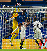 4th November 2020, Stamford Bridge, London, England;  Chelseas Tammy Abraham challenges Rennes goalkeeper Alfred Gomis for a cross during the UEFA Champions League Group E match between Chelsea and Rennes at Stamford Bridge