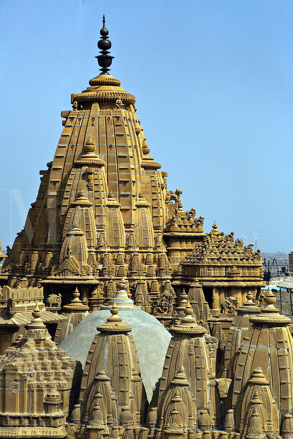Exterior of JAIN TEMPLES which were built in the 12th through 16th Centuries inside the JAISALMER FORT - RAJASTHAN, INDIA.