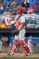Auburn Doubledays catcher Jeyner Baez (13) during a game against the Batavia Muckdogs on June 19, 2017 at Dwyer Stadium in Batavia, New York.  Batavia defeated Auburn 8-2 in both teams opening game of the season.  (Mike Janes/Four Seam Images)