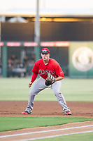 AZL Angels first baseman Dalton Blumenfeld (12) on defense against the AZL White Sox on August 14, 2017 at Diablo Stadium in Tempe, Arizona. AZL Angels defeated the AZL White Sox 3-2. (Zachary Lucy/Four Seam Images)