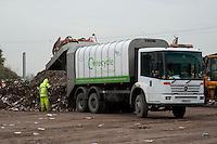 Unloading green waste for composting, Doncaster, Yorkshire.