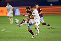 CARSON, CA - SEPTEMBER 19: Sebastian Lletget #17 of the Los Angeles Galaxy and Jack Price #19 of the Colorado Rapids battle in the field during a game between Colorado Rapids and Los Angeles Galaxy at Dignity Heath Sports Park on September 19, 2020 in Carson, California.