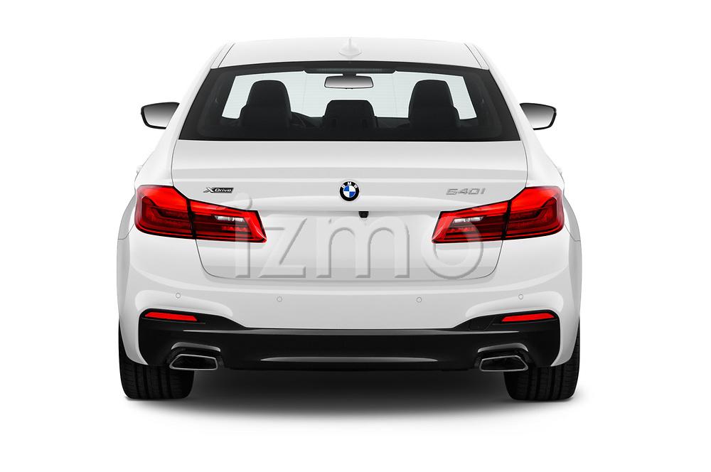 Straight rear view of 2019 BMW 5-Series M-Sport 4 Door Sedan Rear View  stock images