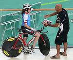 Marie-Claude Molnar, Rio 2016 - Para Cycling // Paracyclisme.<br /> Marie-Claude Molnar talks to coach Eric Van Den Eynde during training before her cycling event // Marie-Claude Molnar s'entretient avec l'entraîneur Eric Van Den Eynde pendant l'entraînement avant son événement cycliste. 03/09/2016.