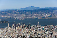aerial photograph San Francisco skyline toward Oakland and Mount Diablo
