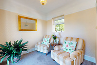 BNPS.co.uk (01202 558833)<br /> Pic: Savills/BNPS<br /> <br /> Pictured: The living room.<br /> <br /> A clifftop home with breathtaking panoramic sea views is on the market for £3.25m.<br /> <br /> Sandpierre also has a private swimming pool and a viewing platform overlooking the beach with 180-degree views of the water. <br /> <br /> The six-bedroom family home is on the Bournemouth/Poole coastline in Dorset and is being sold for the first time in 25 years.<br /> <br /> The house was built in the 1930s and is in a quiet cul-de-sac in Branksome Dene Chine - midway between the town centres of Bournemouth and Poole.