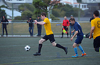 Action from the Capital men's premier one football match between Island Bay and North Wellington at Wakefield Park in Wellington, New Zealand on Friday, 2 April 2021. Photo: Dave Lintott / lintottphoto.co.nz