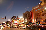 Hollywood Boulevard looking west including the Dolby Theatre (formerly Kodak Theatre) and Hard Rock Cafe at Hollywood & Highland Cente, Los Angeles, CA