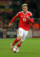 Aaron Ramsey of Wales in action during the 2018 FIFA World Cup Qualifier between Wales and Serbia at the Cardiff City Stadium, Wales, UK. Saturday 12 November 2016