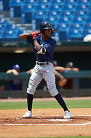 Rob Gordon (10) of Ben Franklin Academy in Smyrna, GA playing for the Milwaukee Brewers scout team during the East Coast Pro Showcase at the Hoover Met Complex on August 2, 2020 in Hoover, AL. (Brian Westerholt/Four Seam Images)