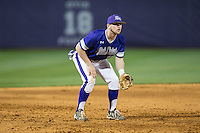 High Point Panthers third baseman Blake Schunk (12) on defense against the NJIT Highlanders during game two of a double-header at Williard Stadium on February 18, 2017 in High Point, North Carolina.  The Highlanders defeated the Panthers 4-2.  (Brian Westerholt/Four Seam Images)