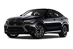 Stock pictures of low aggressive front three quarter view of 2020 BMW X6-M Competition 5 Door SUV Low Aggressive