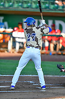 DJ Peters (27) of the Ogden Raptors at bat against the Orem Owlz in Pioneer League action at Lindquist Field on July 29, 2016 in Ogden, Utah. Orem defeated Ogden 8-5. (Stephen Smith/Four Seam Images)