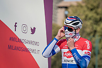 full face masked Mathieu Van der Poel (NED/Alpecin-Fenix) at the race start (early in the morning) in Milan<br /> <br /> 112th Milano-Sanremo 2021 (1.UWT)<br /> 1 day race from Milan to Sanremo (299km)<br /> <br /> ©kramon