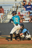 Justin Fox (2) (Erskine College) of the Mooresville Spinners at bat against the Dry Pond Blue Sox at Moor Park on July 2, 2020 in Mooresville, NC.  The Spinners defeated the Blue Sox 9-4. (Brian Westerholt/Four Seam Images)