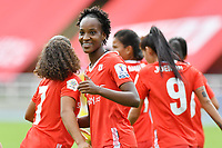 CALI – COLOMBIA, 20-11-2020: Farlyn Caicedo del América celebra después de anotar el primer gol de su equipo partido por la Fecha 6 de la Liga Femenina BetPlay DIMAYOR 2020 entre América de Cali y Deportivo Pasto jugado en el estadio Pascual Guerrero de la ciudad de Cali. / Farlyn Caicedo of America celebrates after scoring the first goal of his team during match for the date 6 as part of Women's BetPlay DIMAYOR League 2020 between America de Cali and Deportivo Pasto played at Pascual Guerrero stadium in Cali city. Photos: VizzorImage / Nelson Rios / Cont /.
