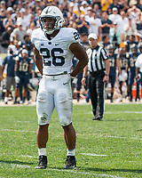 Penn State running back Saquon Barkley. The Pitt Panthers defeated the Penn State Nittany Lions 42-39 at Heinz Field, Pittsburgh, Pennsylvania on September 10, 2016.