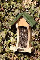 Vogel-Futterhäuschen, mit Sonnenblumen-Kernen gefüllt, Futterhaus, Futterhäuschen, Vogelfutter, Vogelfutterhäuschen, Vogelfutterhaus