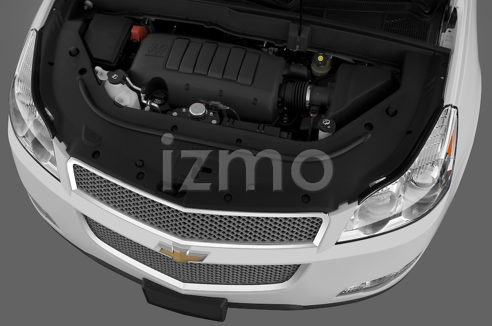 High angle engine detail of a  2009 Chevrolet Traverse LTZ.