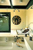 bedroom and open plan bathroom