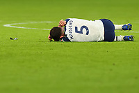 5th January 2021; Tottenham Hotspur Stadium, London, England; English Football League Cup Football, Carabao Cup, Tottenham Hotspur versus Brentford; Pierre-Emile Hojbjerg of Tottenham Hotspur goes down injured by the late tackle from  after a late tackle from Josh Dasilva of Brentford