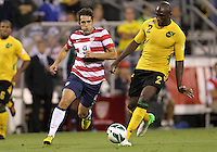 COLUMBUS, OHIO - SEPTEMBER 11, 2012:  Herculez Gomez (9) of the USA MNT chases after Nyron Nosworthy (2) of  Jamaica during a CONCACAF 2014 World Cup qualifying  match at Crew Stadium, in Columbus, Ohio on September 11. USA won 1-0.