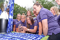 players of Anderlecht with Laura Deloose (14) of Anderlecht , Tine De Caigny (6) of Anderlecht and Britt Vanhamel (4) of Anderlecht pictured during the celebration of their Belgian Scooore Womens Super League 2020 - 2021 title after winning the championship , saturday 5 th of June 2021  in Anderlecht , Belgium . PHOTO SPORTPIX.BE | SPP | STIJN AUDOOREN