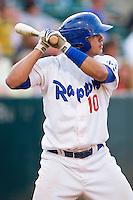 Jose Capellan (10) of the Ogden Raptors at bat against the Orem Owlz at Lindquist Field on July 28, 2012 in Ogden, Utah.  The Raptors defeated the Owlz 8-7.   (Brian Westerholt/Four Seam Images)