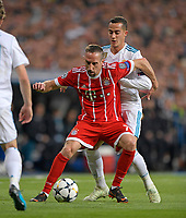 01.05.2018, Football UEFA Champions League 2017/2018, semi final  Rueckspiel, Real Madrid - FC Bayern Muenchen, Bernabeu-stadium Madrid. v.li: Franck Ribery (FC Bayern Muenchen)  -  Lucas Vazquez (Real Madrid). *** Local Caption *** © pixathlon<br /> <br /> Contact: +49-40-22 63 02 60 , info@pixathlon.de