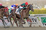 Toby's Corner, jockey Eddie Castro up, wins the Wood Memorial at Aqueduct Race Track in Ozone Park, New York on April 9, 2011.  Favorite Uncle Mo was third.