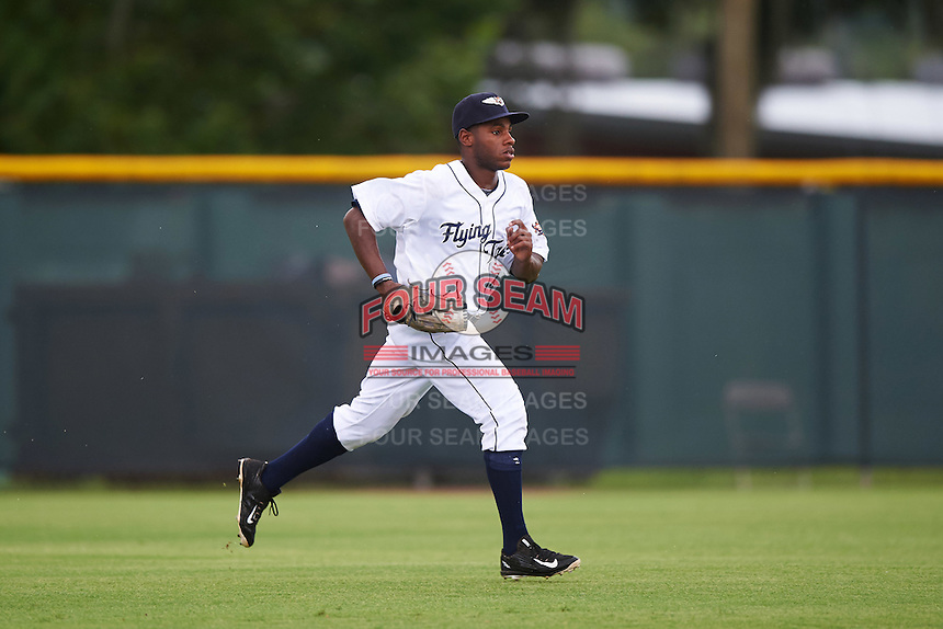 Lakeland Flying Tigers left fielder Rashad Brown (4) during a game against the Brevard County Manatees on August 8, 2016 at Henley Field in Lakeland, Florida.  Lakeland defeated Brevard County 6-2.  (Mike Janes/Four Seam Images)