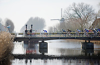 Frederik Veuchelen (BEL) trying to escape from the peloton while crossing the Damse Vaart (near Bruges)<br /> <br /> 3 Days of West-Flanders<br /> stage 1: Brugge - Harelbeke 183km