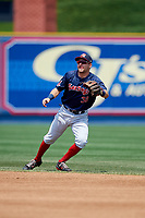 Portland Sea Dogs second baseman Nick Lovullo (38) during the second game of a doubleheader against the Reading Fightin Phils on May 15, 2018 at FirstEnergy Stadium in Reading, Pennsylvania.  Reading defeated Portland 9-8.  (Mike Janes/Four Seam Images)