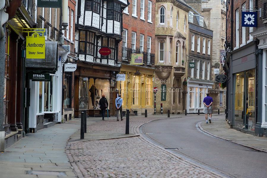 UK, England, Cambridge.  King's Parade Street Scene, Early Morning.
