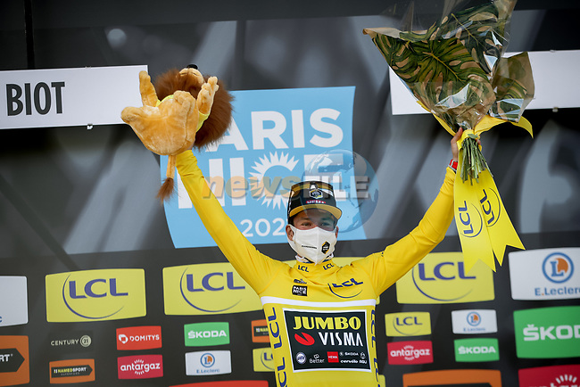 Slovenian Champion Primoz Rogloc (SLO) Team Jumbo-Visma wins Stage 6 and retains the race leaders Yellow Jersey of Paris-Nice 2021, running 202.5km from Brignoles to Biot, France. 12th March 2021.<br /> Picture: ASO/Fabien Boukla | Cyclefile<br /> <br /> All photos usage must carry mandatory copyright credit (© Cyclefile | ASO/Fabien Boukla)
