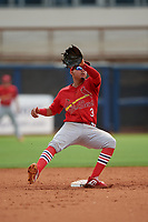 Palm Beach Cardinals second baseman Rayder Ascanio (3) stretches for a throw during a Florida State League game against the Charlotte Stone Crabs on April 14, 2019 at Charlotte Sports Park in Port Charlotte, Florida.  Palm Beach defeated Charlotte 5-3.  (Mike Janes/Four Seam Images)