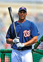 24 May 2009: Washington Nationals' center fielder Justin Maxwell prepares for batting practice prior to a game against the Baltimore Orioles at Nationals Park in Washington, DC. The Nationals rallied to defeat the Orioles 8-5 and salvage one win of their interleague series. Mandatory Credit: Ed Wolfstein Photo