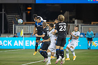 SAN JOSE, CA - SEPTEMBER 19: Jeremy Ebobisse #17 of the Portland Timbers battles for the ball with Nick Lima #24 of the San Jose Earthquakes during a game between Portland Timbers and San Jose Earthquakes at Earthquakes Stadium on September 19, 2020 in San Jose, California.