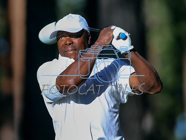 Former MLB player Vince Coleman plays in the final round of the American Century Championship at Edgewood Tahoe Golf Course in Stateline, Nev., on Sunday, July 19, 2015. <br /> Photo by Cathleen Allison