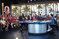 """MIAMI BEACH, FL - JANUARY 31: Deontay Wilder, Todd Fuhrman, Clay Travis, and Rachel Bonnetta on the set of """"Lock It In"""" on the Fox Sports South Beach studio during Super Bowl LIV week on January 31, 2020 in Miami Beach, Florida. (Photo by Frank Micelotta/Fox Sports/PictureGroup)"""