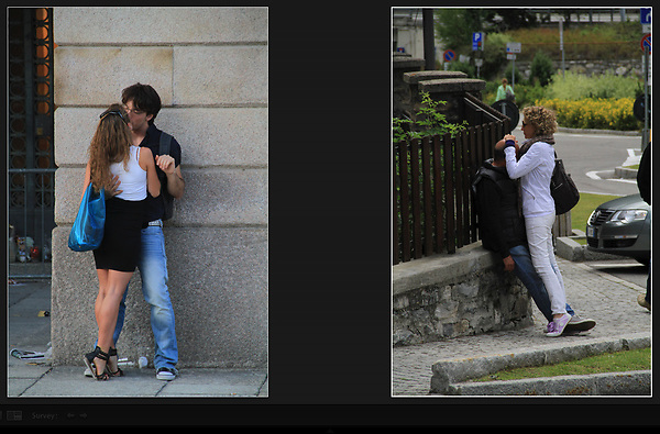 Italy, Milan.  Italy Is for lovers. <br /> Prepare all your camera settings beforehand like exposure, focal length and composition. This is where a long or telephoto lens is helpful. I select a faster shutter speed (1/500 second) because I tend to be a little nervous and quick.