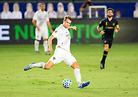 CARSON, CA - SEPTEMBER 06: Nicholas DePuy #20 of the Los Angeles Galaxy sends a ball downfield during a game between Los Angeles FC and Los Angeles Galaxy at Dignity Health Sports Park on September 06, 2020 in Carson, California.