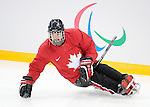 Sochi, RUSSIA - Mar 1 2014 -  Billy Bridges from Team Canada hits the ice for the team's first practice before the 2014 Paralympics in Sochi, Russia.  (Photo: Matthew Murnaghan/Canadian Paralympic Committee)