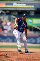 Portland Sea Dogs relief pitcher Dedgar Jimenez (47) delivers a pitch during the second game of a doubleheader against the Reading Fightin Phils on May 15, 2018 at FirstEnergy Stadium in Reading, Pennsylvania.  Reading defeated Portland 9-8.  (Mike Janes/Four Seam Images)