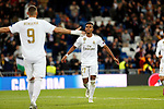 Real Madrid CF's Rodrygo Goes and Real Madrid CF's Karim Benzema celebrates after scoring a goal during UEFA Champions League match, groups between Real Madrid and Galatasaray SK at Santiago Bernabeu Stadium in Madrid, Spain. November, Wednesday 06, 2019.(ALTERPHOTOS/Manu R.B.)