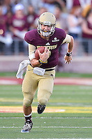 Texas State quarterback Tyler Jones (2) rushes for some yards during first half of NCAA Football game, Saturday, August 30, 2014 in San Marcos, Tex. Texas State leads Arkansas Pine-Bluff 42-0 at the halftime. (Mo Khursheed/TFV Media via AP Images)