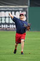Lowell Spinners pitcher Jake Thompson (40) throws in the outfield during practice before a game against the Batavia Muckdogs on July 12, 2017 at Dwyer Stadium in Batavia, New York.  Batavia defeated Lowell 7-2.  (Mike Janes/Four Seam Images)