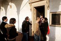 L'entrata della cella di un monaco nel Chiostro grande della Certosa di Pavia.<br /> The entrance of a monk's cell in the Grand Cloister of the Certosa di Pavia.<br /> UPDATE IMAGES PRESS/Riccardo De Luca