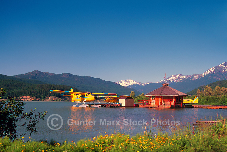 Sight-seeing Float Planes on Green Lake, Whistler, BC, British Columbia, Canada